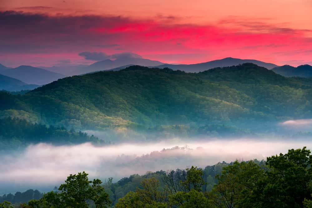 Beautiful sunset photo in the Great Smoky Mountains National Park.