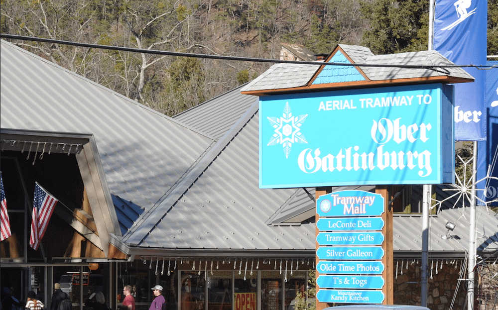 The sign for the Ober Gatlinburg Aerial Tramway.