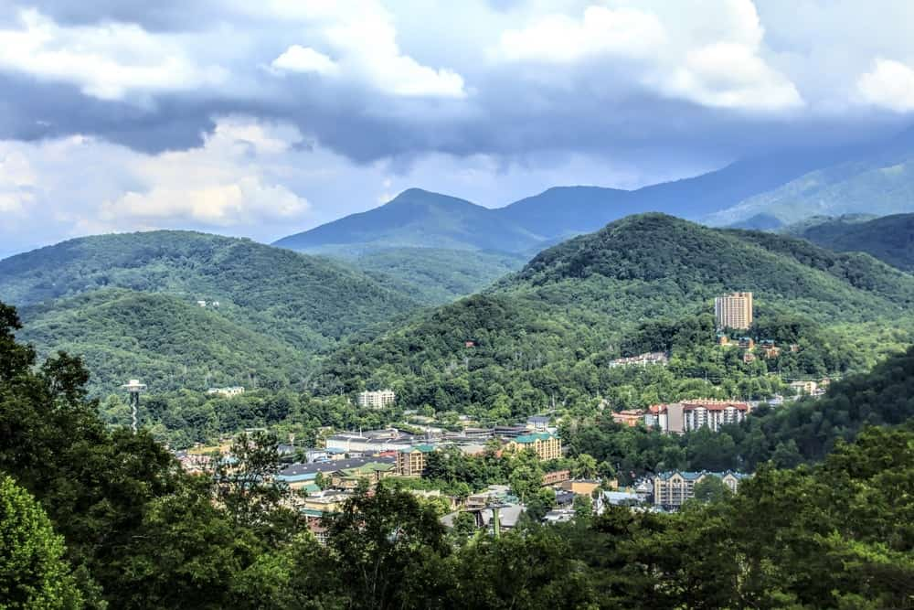 Stunning photo of downtown Gatlinburg surrounded by the mountains.