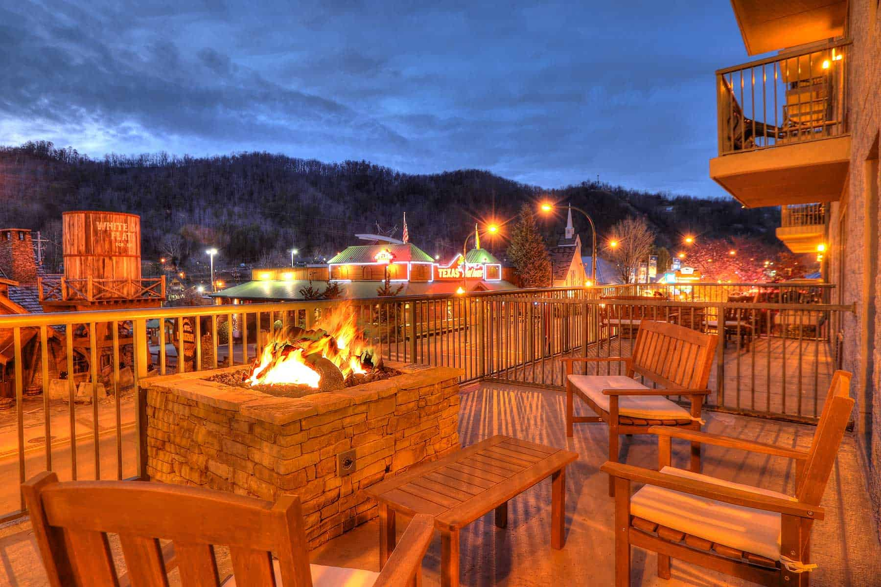 chairs surround fire pit in Gatlinburg hotel