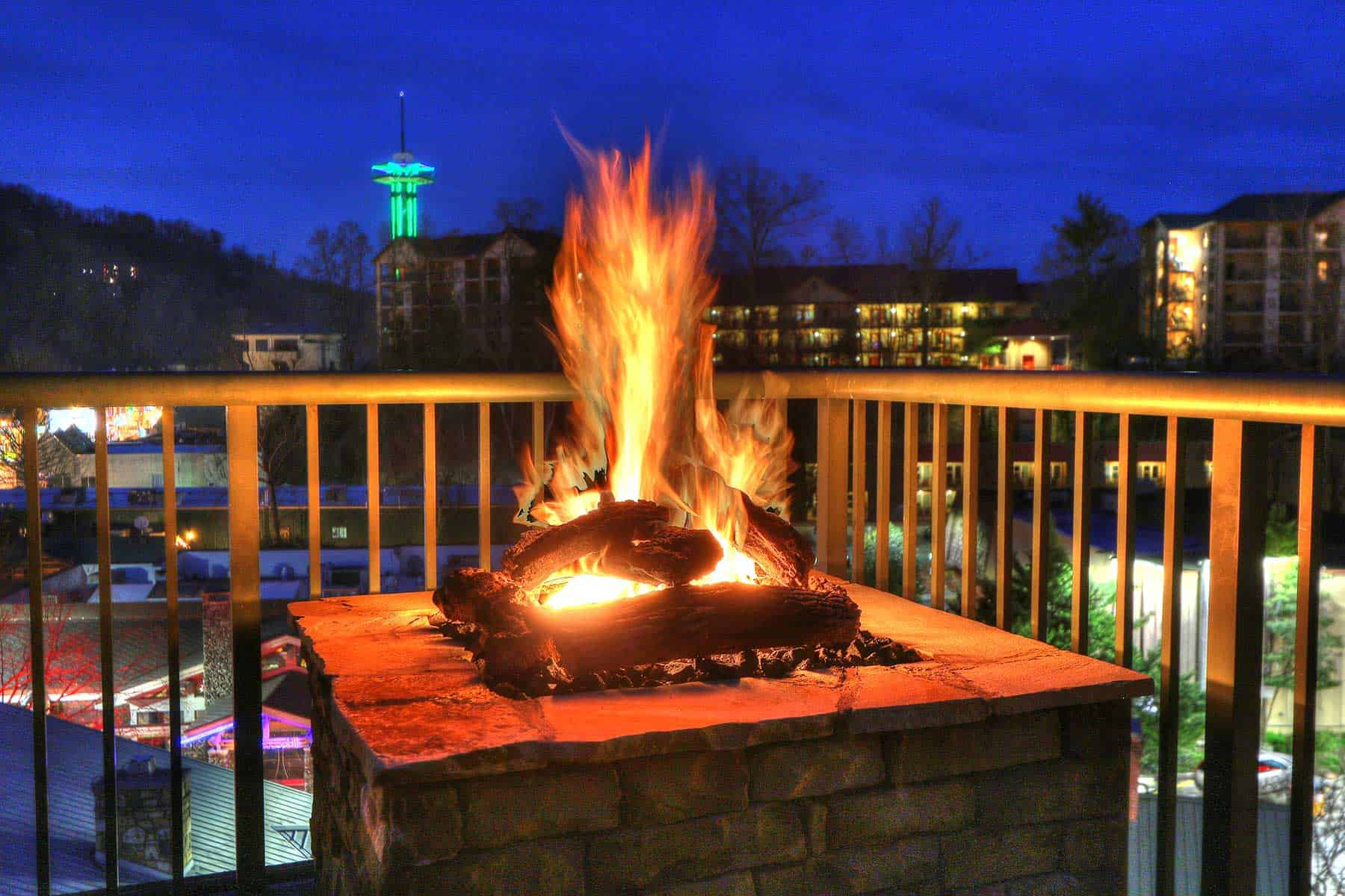 beautiful fire on hotel balcony overlooking Gatlinburg
