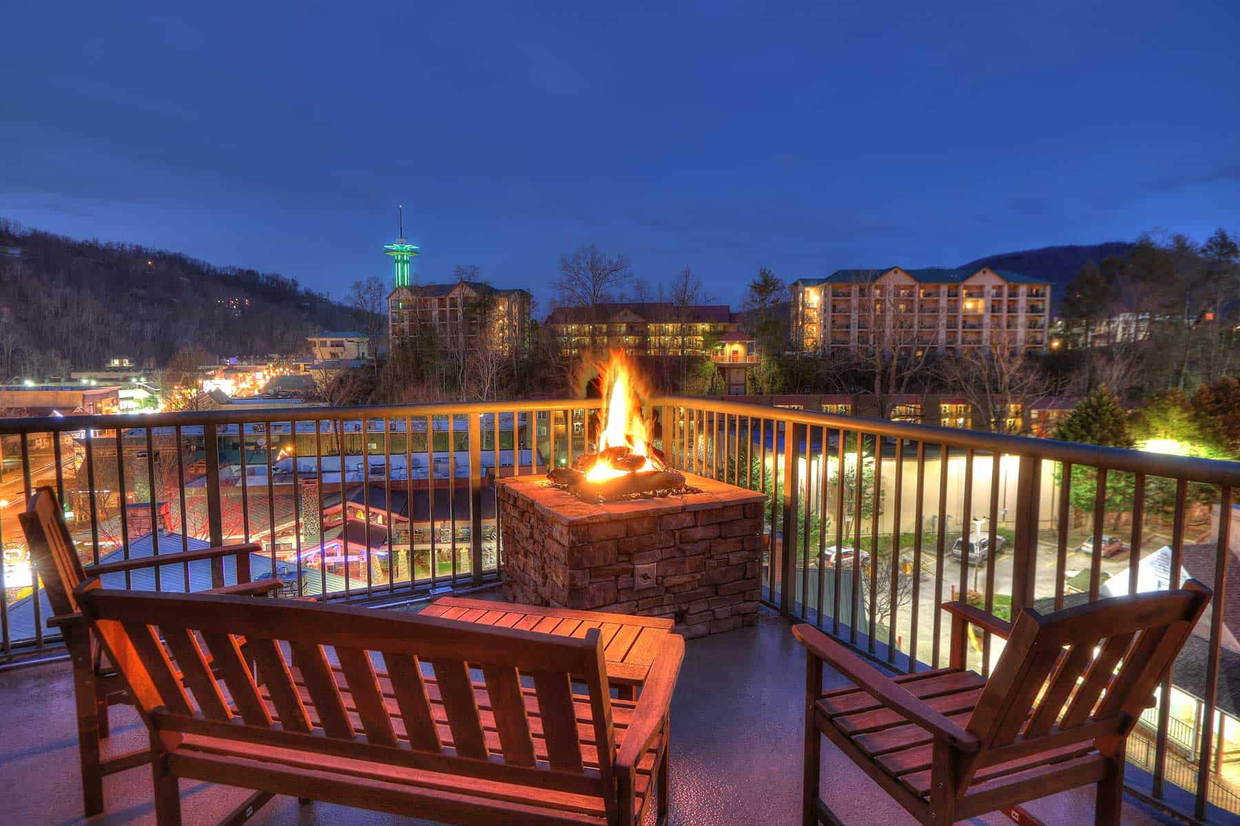 night view of Gatlinburg from hotel balcony