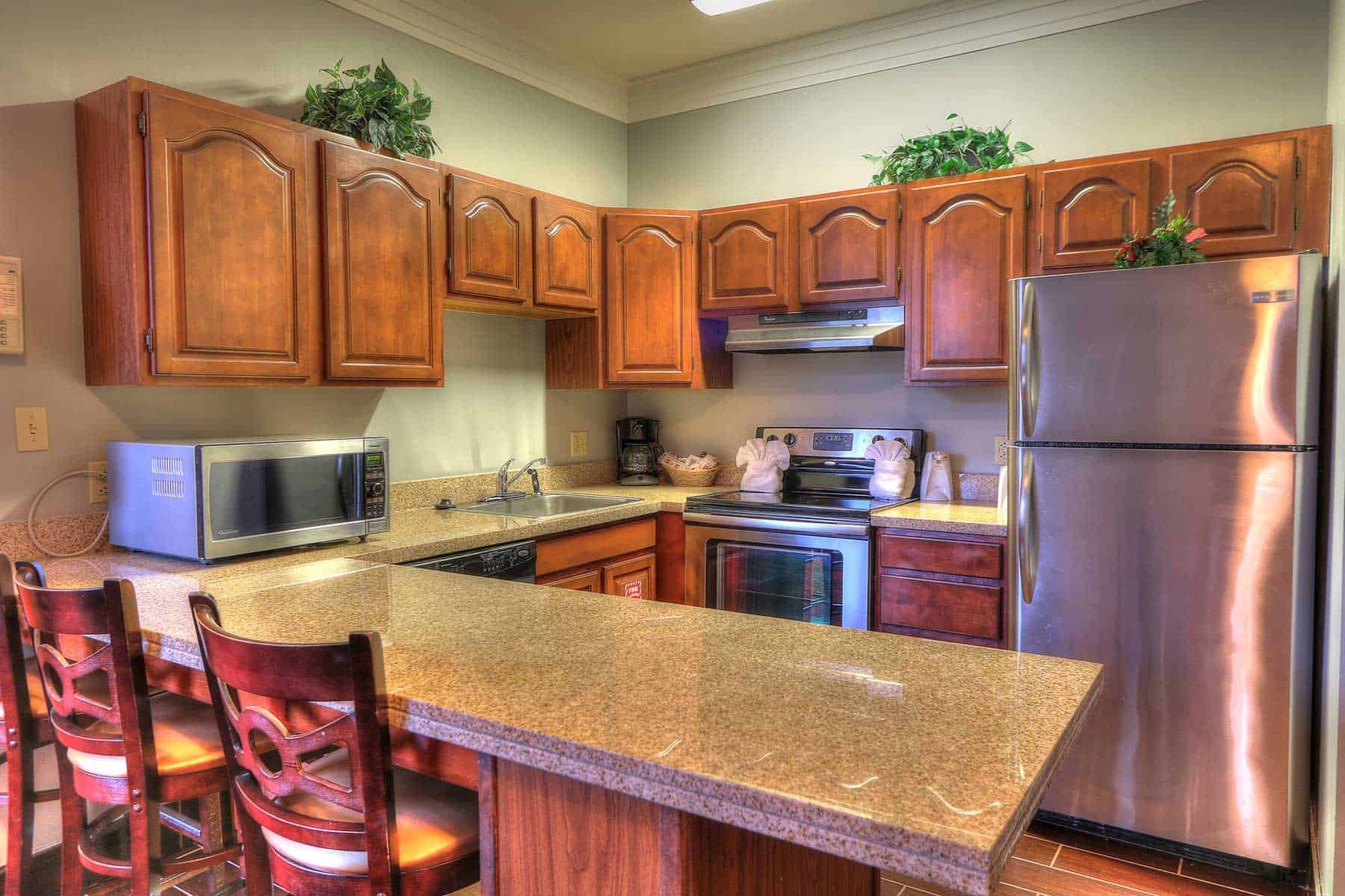 kitchen in penthouse suite at Gatlinburg Tn hotel