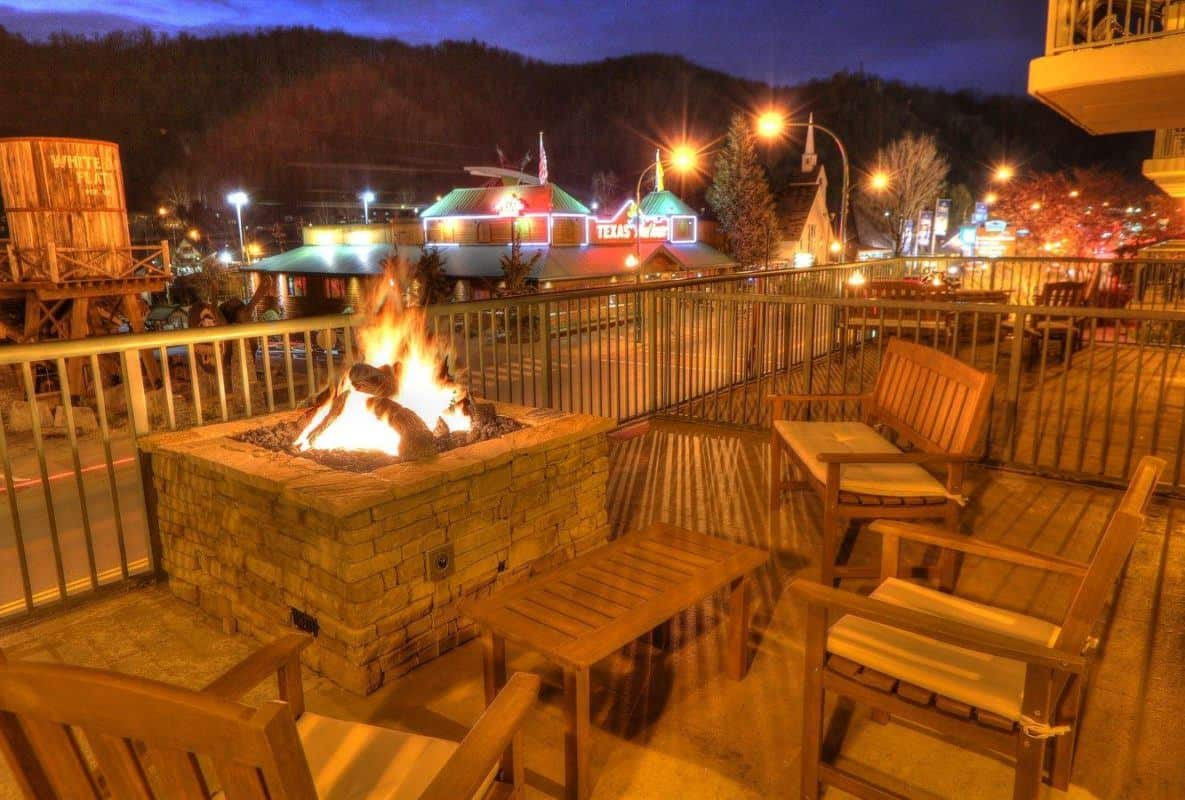 Chairs around the fire pit at Black Bear Inn & Suites in Gatlinburg TN