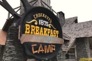 Crockett's Breakfast Camp sign